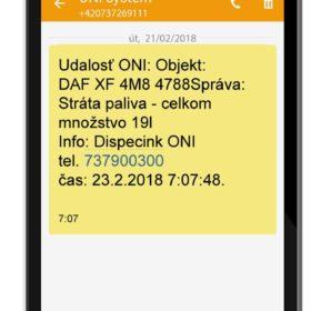 SMS o krádeži paliva zaslaná po naštartovaní vozidla