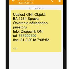 SMS o krádeži paliva zaslaná pri detekcii prvého úbytku PHM - zlodej práve kradne